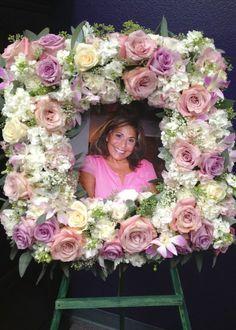 Pink and white frame wreath sympathy flowers Casket Flowers, Grave Flowers, Cemetery Flowers, Funeral Bouquet, Funeral Flowers, Wedding Flowers, Funeral Floral Arrangements, Flower Arrangements, Funeral Sprays