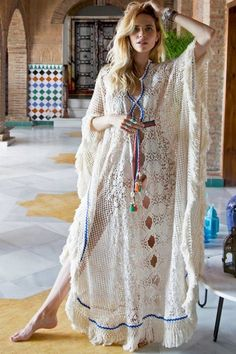 Boho Chic Ibizan Kaftan Bohemian Turquoise Top White Ethnic Kaftan AZURE