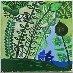 John Pule, fonua galo - (fanafanauaga), 2018 | The Central Plant Leaves, Ink, Landscape, Canvas, Artist, Plants, Image, Tela, Scenery