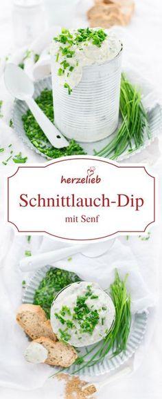 Dip Rezept - Dieser Schnittlauch-Dip mit Senf von herzelieb ist schnell gemacht und zum Grillen, zu Kartoffeln oder zu Brot und zu Fisch einfach sensationell gut!