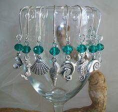 Beach Theme Stemless Wine Glass Charms by SeashellBeachDesigns