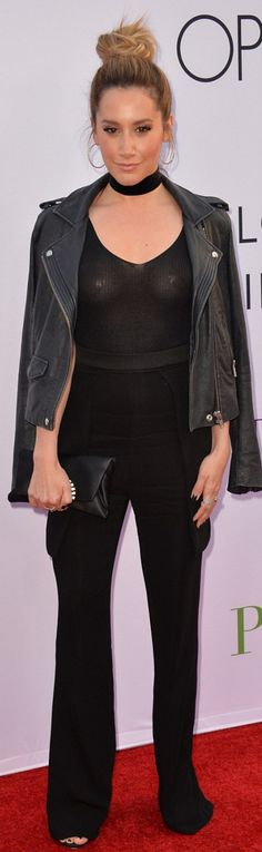 Who made Ashley Tisdale's jewelry and black leather jacket?