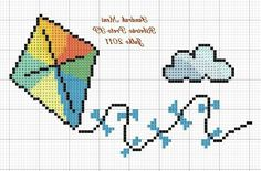 E para nossos príncipes também não poderia faltar os melhores gráficos, nossos meninos encantam nossa vidas com seu carinho e atenç... Cross Stitch Baby, Cross Stitch Charts, Cross Stitch Patterns, Loom Patterns, Baby Disney, Loom Beading, Kite, Pixel Art, Needlepoint