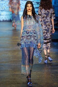 New York Fashion Week 2015, Anna Sui Ready To Wear Collection, Shells and Scales Mixed Print, Ruffles, Sheer
