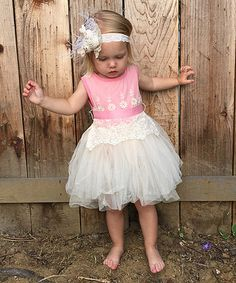 Love this Pink & Ivory Vintage Overlay Dress - Infant, Toddler & Kids on #zulily! #zulilyfinds
