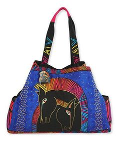 Another great find on #zulily! Blue & Pink Large Embracing Horses Tote by Laurel Burch #zulilyfinds