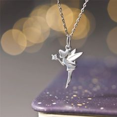 Clean Gold Jewelry, Fairy Jewelry, White Enamel, Mother Gifts, Tinkerbell, Sterling Silver Chains, Beautiful Necklaces, Silver Color, Pixie