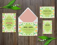 Watercolor Flower Wedding Invitation suite includes: Wedding Invitation / Save the Date Card / RSVP card / Thank you card You Summer Wedding Invitations, Wedding Invitation Suite, Wedding Invitation Templates, Printable Invitations, Invitation Design, Wedding Suite, Luxury Wedding, Invitation Cards, Card Making Designs