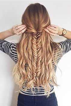 Half Updo Fishtail Braid <3 @zane_jurjane is wearing her Dirty Blonde #luxyhair extensions for thickness.