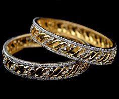 Indian Bollywood Bangles Kadas Jewelry Set Simulated Shining CZ IKJ408 Size 2*8