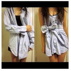 Cute way to turn a guys button up (or even an oversized button up) into a cute dress :)