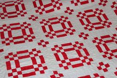 Red and White Handmade Machine Quilted Quilt by jajos on Etsy