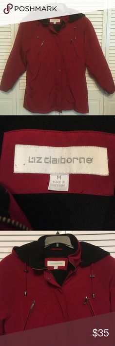 Liz Claiborne Red Walking coat x Jacket Size M x wonderful condition x no marks or rips x has hood that keep on or take off x all zipper and snaps work x adjustable waist cord Liz Claiborne Jackets & Coats