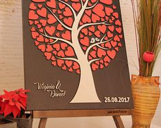 JubileeTree -Wedding Guestbook new alternative Personalized guest book tree of life with wood hearts Unique gift ideea guest book Sign in Guest Book Tree, Guest Book Sign, Wedding Guest Book, 3d Tree, Wooden Easel, Unique Gifts, Handmade Gifts, Guest Book Alternatives, Writing Instruments