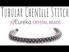 Learn Tubular Chenille Stitch with New 2 mm Swarovski Pearls! Seed Bead Tutorials, Diy Jewelry Tutorials, Seed Bead Patterns, Beaded Jewelry Patterns, Beading Tutorials, Bracelet Patterns, Crochet Beaded Bracelets, Beaded Bracelets Tutorial, Bead Loom Bracelets