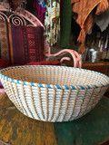 """""""White wash"""" aqua edged bowl – Eyre Imports"""