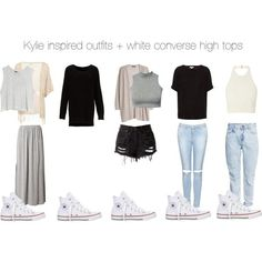 Kylie inspired outfits   white converse high tops by kylieinspired on Polyvore featuring MINKPINK, MANGO, Glamorous, HM, Topshop and Converse