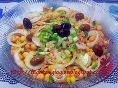 Ρεβυθοσαλάτα με τόνο Tuna Recipes, Greek Recipes, Salad Bar, Fruit Salad, Seafood, Oven, Sweet Home, Rice, Nutrition