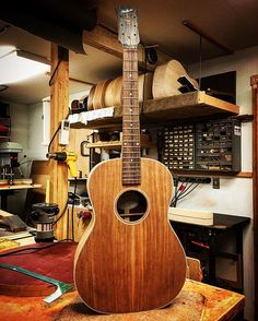 New body style, based on John Thomas' 1940s Gibson LG-2. Once I got used to its proportions, I grew to love it! It's sort of a cross between an L-OO and a slope shoulder dreadnought. All mahogany. #luthier #lutherie #guitar #acousticguitar Dale Fairbanks Master Luthier