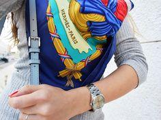 Hermes scarf in Blue details – Fleur d'Hiver