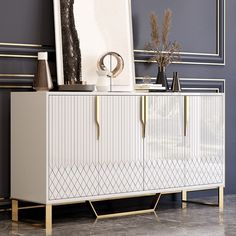 Delicate Appeal: Accented with geometric lines and gold finished handle, this sideboard cabinet enjoys a delicate and luxurious appeal.