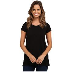 Mod-o-doc Short Sleeve Hi-Low Rib Trim Tee Women's T Shirt ($48) ❤ liked on Polyvore featuring tops, t-shirts, scoopneck top, scoopneck tee, black scoop neck top, short sleeve t shirts and short sleeve tops
