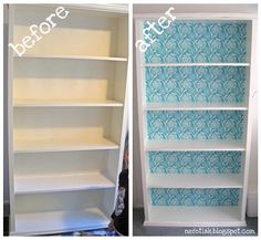 mod podge fabric back for bookshelf --- tutorial - I have a hideous bookshelf that could use some sprucing up. ~Kristen