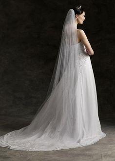Cut edge bridal veil plain chapel length by Samsbridals on Etsy
