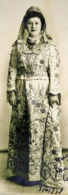 Bridal/festive costume (with a skirt & a dress shirt) in late-Ottoman style, late 1930s. Probably from Izmir. Goldwork embroidery on silk.