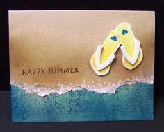 card summer sea seaside beach flipflops flip flops waves sand - kort sommer strand hav klipklappere sandaler