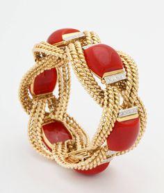 David Webb Coral Diamond Gold Platinum Bracelet | From a unique collection of vintage more bracelets at https://www.1stdibs.com/jewelry/bracelets/more-bracelets/