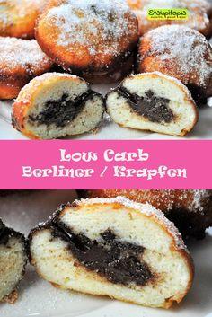 Low Carb Berliner, Krapfen, berliner Pfannkuchen...in diesem Rezept zeige ich euch, wie ihr Berliner bzw. Krapfen ohne Zucker und Mehl herstellen könnt. Soooo gut!
