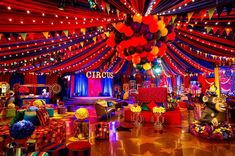 As the guests walked in to the circus tent, they entered an elaborate circus ring full of excitement, games, delicious food and circus… Circus Party Decorations, Carnival Themed Party, Carnival Birthday Parties, Circus Birthday, Birthday Party Themes, Adult Circus Party, Circus Party Games, Circus Game, Vintage Circus Party
