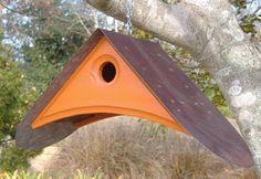 SPRING Orange Birdhouse. $60.00, via Etsy.