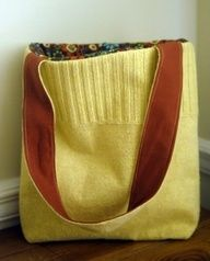 I love recycled projects!!!  A bag from a sweater. easy! AND you can use the sweater sleeves to wrap gifts (bottle of wine maybe).  Thrift store here I come!