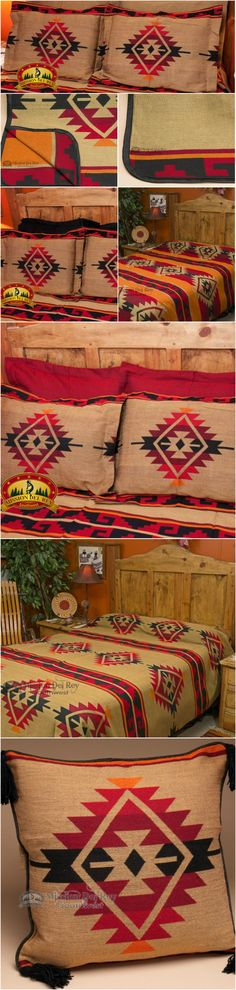 Our Yavapai bedding set will make southwest style come to life in your home.  Add the classic colors and designs of the southwest to your home decor for an authentic look and feel with one of our reversible southwest bedspreads.  See our entire collection at http://www.missiondelrey.com/western-ranch-blanket-bedspread-yavapai-pattern-queen/
