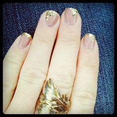 peach mani with glitter tips - nails