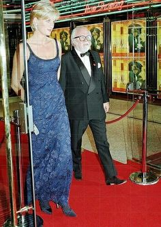 """February 12, 1997: Diana, Princess of Wales with Sir Richard Attenborough at the """"Love & War"""" Premiere"""