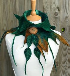 Leaf cowl- scarf-Woodland Felted Cowl - woodelf-nature inspired - felted scarf- woodland scarf- festival -fairy costume-larp- Autumn scarf by folkowl on Etsy https://www.etsy.com/listing/543746364/leaf-cowl-scarf-woodland-felted-cowl