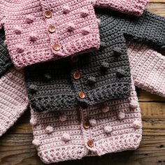 Newest Pictures Crochet cardigan baby Suggestions Bobble Baby Cardigan Crochet Pattern Crochet Baby Sweater Pattern, Bobble Crochet, Crochet Baby Sweaters, Baby Sweater Patterns, Baby Girl Crochet, Crochet Baby Clothes, Baby Patterns, Baby Knitting, Crochet Toddler Sweater