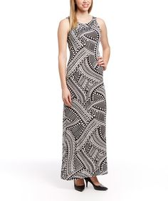 Loving this Black & White Geometric Maxi Dress on #zulily! #zulilyfinds