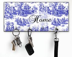 Items similar to Blue Toile Key Holder for Wall, French Country Wall Decor on Etsy French Country Wall Decor, Original Wall Art, Fabric Memo Boards, Country Wall Decor, House Warming Gifts, Wall Key Holder, Blue Toile, Memorial Gifts, Key Hook Rack