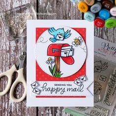 Sending Happy Mail with Pretty Pink Posh Stamps! Pretty Pink Posh, Polka Dot Paper, Happy Mail, Copics, Copic Markers, My Stamp, Cool Cards, Card Making, Paper Crafts
