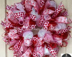 Valentine Day Heart Deco Mesh Wreath by WreathsEtcbyLisa on Etsy