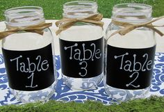 Mason Jars: Chalkboard Labels, smooth glass. Perfect for a Shabby Chic