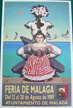 CARTEL FERIA DE MALAGA AGOSTO 1989. Autor: Francisco Fernández Francisco Fernandez, Malaga, Spain, Movies, Movie Posters, Travel, Old Advertisements, Vintage Posters, Childhood Memories