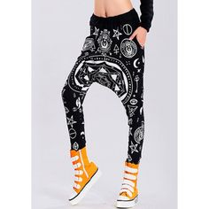 $12.50 Hippie Loose-Fitting Printed Black Harem Pants For Women