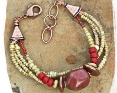Tribal southwestern bracelet with heart by rocksandpaperswans
