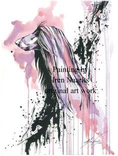 Beautiful Art Work of  Afghan Hound by Iren Naarits.