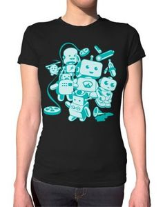 Retro Robots Ladies T-Shirt